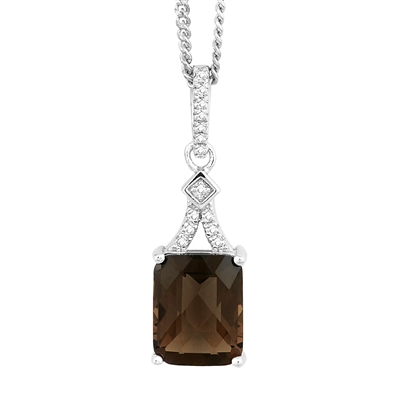 Bellissima Sterling Silver Octagon Smoky Quartz Necklace