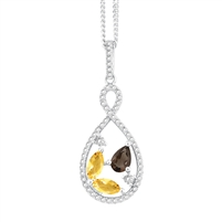 Bellissima Sterling Silver Marquise Citrine and Pear Smoky Quartz Necklace