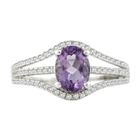 Bellissima Sterling Silver Oval Amethyst Ring