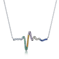 Sterling Silver Rainbow CZ Heartbeat Necklace