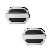 Stainless Steel Black Oval Cuff Links