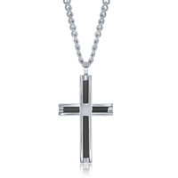 Stainless Steel Polished and Black Wire Cross Pendent W/Chain