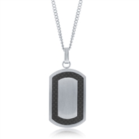 Stainless Steel Matte Carbon Fiber Border Dog Tag W/Chain