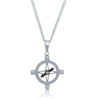 Stainless Steel Compass Pendent W/Chain