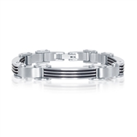 Stainless Steel & Rubber Bar-Look Bracelet