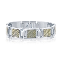 (SPECIAL ORD) Stainless Steel Squares w/ Center Texturized Design Bracelet