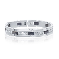 Stainless Steel Black Ceramic w/ Diamond-Shaped Design Bracelet