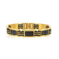 Stainless Steel Black Rubber and Gold Plated w/ Carbon Fiber Bracelet