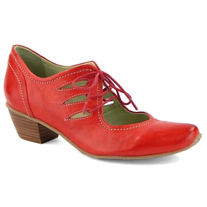 Mentha Ivor Lace Up Pump Red