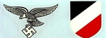 1st Model Luftwaffe Eagle & Tri-Color Shield Water Transfer Decals