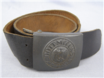 Original German WWII Unissued Late War Leather Combat Belt With Late War Buckle J.F.S.