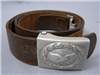 Original German WWII Luftwaffe EM/NCO Brown Leather Combat Belt & Aluminum Buckle