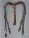 Original German WWII Wartime Leather Combat Y-Straps Not Marked