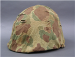 Original US WWII/Korean War Marine Corps M1 Helmet Front Seam Swivel Bail With Camouflage Helmet Cover