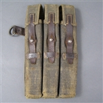 Original German WWII Luftwaffe Paratrooper MP40 Magazine Pouch With Brown Leather