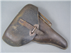 "Original German WWII Hard Shell P38 Leather Holster Marked ""cey"" Dated ""42"""