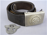 Original German WWII Police Buckle With Combat Belt And Cap Insignia