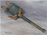Original German WWII Flat Shovel (Spaten) With Repro German WWII Presstoff Flat Shovel Carrier (Spaten Tasche) Black