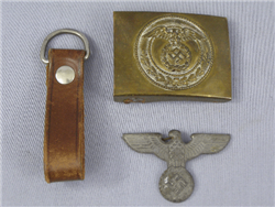 Original German WWII Sturmabteilung (SA) Belt Buckle With Belt Loop And Political Cap Eagle