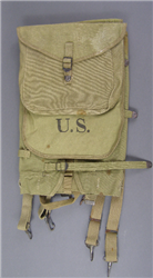 Original US WWII M-1928 Haversack Field Pack Dated 1942 With Mess Kit Pouch & Back Tail