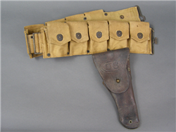 Original US WWI M1918 Mounted Ammo/Cartridge Belt With M1911 Colt Holster Dated 1917
