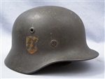 Original Waffen SS M40 Single Decal Helmet Q64