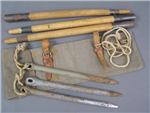 Original German WWI & WWII Zeltbahn Bag, Poles, Pegs Rope Set