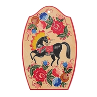 "Serving Tray ""Gorodetz style. The Horse"". Hand Painted Wood"