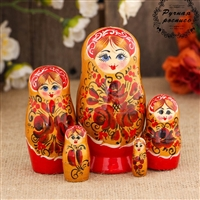 "Traditional Matreshka Doll. ""Red flowers"". 5 dolls. Medium 11 cm. Hand Panted Wood"