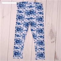 "Leggings for a girl ""Gzhel"" style. 100% cotton"