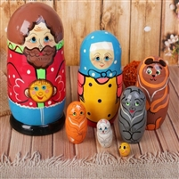 "Traditional Matreshka Doll. ""Ginger Bread Man"" 7 dolls. Large 17 cm. Hand Panted Wood"