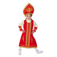 "Carnival costume ""Russian Beauty"" . 2 pcs(dress and headpiece) . H 120 cm -130 cm"