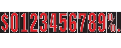 Windshield SunBuster Adhesive Numbers - 7 1/2 inch Red, Black & White