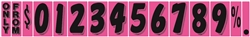 Windshield Fluorescent Numbers - 7 1/2 inch Black & Hot Pink