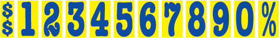 Windshield Mid-Size Non-Fade Numbers - 5 1/2 inch Blue & Yellow