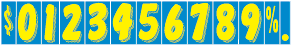 Windshield Numbers - 7 1/2 inch Yellow & Blue