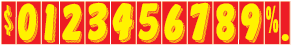 Windshield Numbers - 9 1/2 inch Yellow & Red