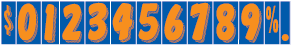 Windshield Fluorescent Numbers - 7 1/2 inch Orange & Blue