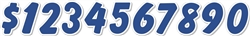 Windshield Die Cut Numbers Blue & White