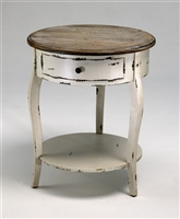 Wooden Distressed White & Gray Abelard Side Table for Salon & Spa