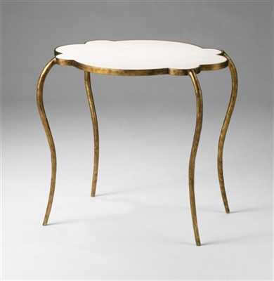 Marble Gold Finished Flora Side Table for Spa & Salon Decor