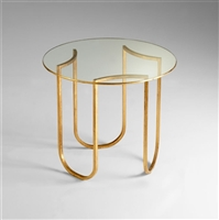Glass Gold Leaf Finished Vincente Side Table for Salon & Spa
