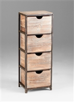 Talford Four Drawer Storage - Four Wooden Crates Stacked on a Distressed Metal Shelf for Salon Storage