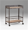Desmond Cart - Rolling Distressed Metal Salon Cart with Two Wooden Shelves