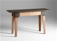 Wooden Accent Table with Iron Tabletop