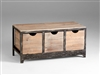 Talford Three Drawer Storage - Wooden Crate Storage with Distressed Metal Frame for Spas & Salons