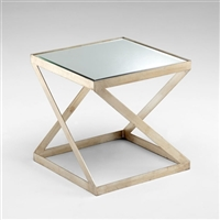 Newman Table - Modern Iron Side Table with Mirror Top for Spas & Salons