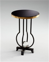 Jacques Table - Iron Side Table with Old World Granite & Gold Finish for Spas & Salons