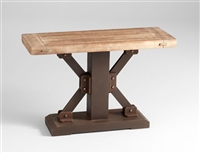 Kern Table - Raw Iron Table with a Natural Wooden Top for Spas & Salons