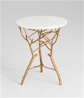 Langley Table - White Marble Side Table Top with Golden Branches in the Finish for Spas & Salons